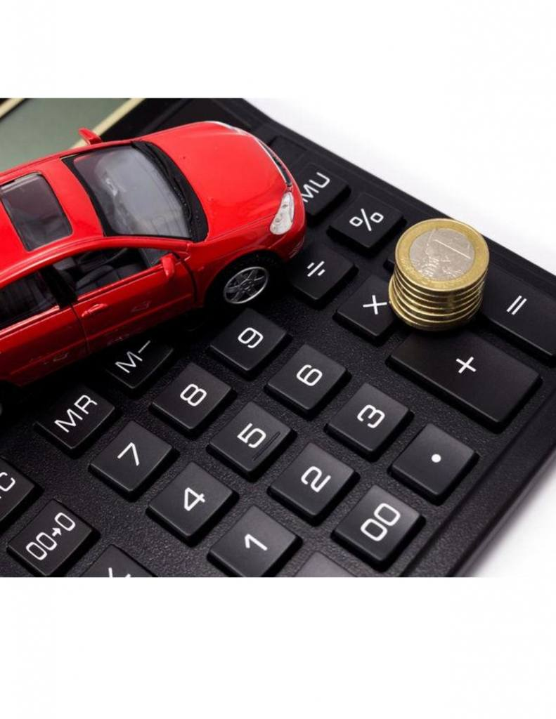 toy car and calculator with coins