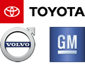 Toyota, Volvo and logos