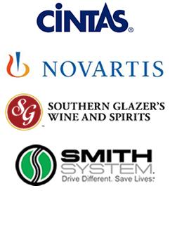 cintas, novartis, southern glazer's wind and spirits and smith system logos
