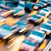 a blur of traffic speeding by