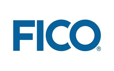 FICO logo using blue block letters