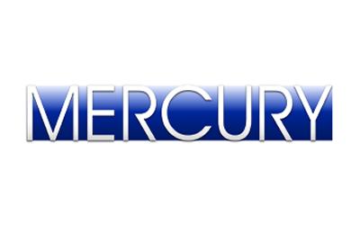 Mercury logo white letters on blue background